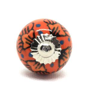 Petit bouton céramique orange à motifs