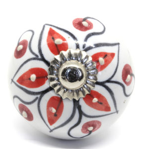 Grand bouton de meuble rouge mandala