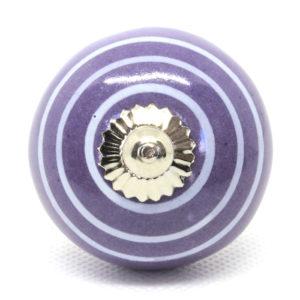 Grand bouton de meuble mauve rayé