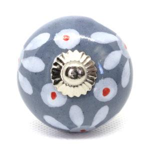 Grand bouton de meuble gris fleuri