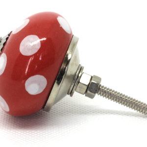 Grand bouton de meuble céramique rouge pois