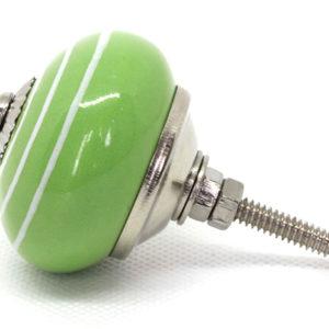 Grand bouton céramique rayé vert et blanc
