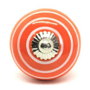 Grand bouton de meuble orange rayé