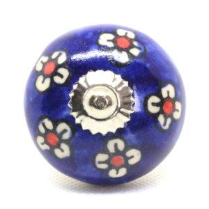 Grand bouton de meuble céramique pâquerettes