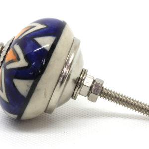 Grand bouton de meuble bleu étoilé