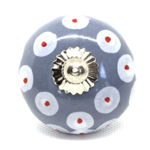 Grand bouton de meuble gris et blanc