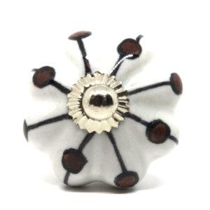 Grand bouton de meuble en céramique forme fleur