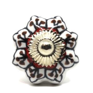 Grand bouton de meuble forme citrouille noir, blanc et rouge