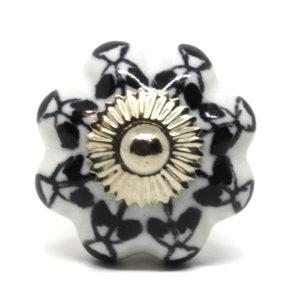 Grand bouton de meuble noir et blanc forme citrouille