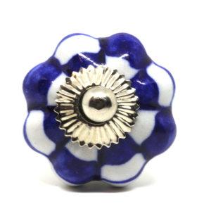 Grand bouton de meuble en céramique blanc et bleu forme fleur