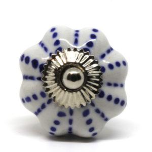 Grand bouton de meuble blanc et bleu forme citrouille