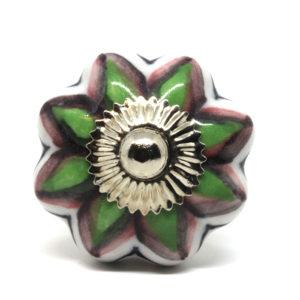 Grand bouton de meuble en céramique vert et rose forme fleur