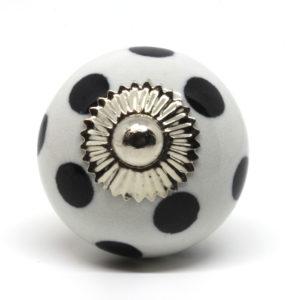 Grand bouton de meuble à pois noir et blanc