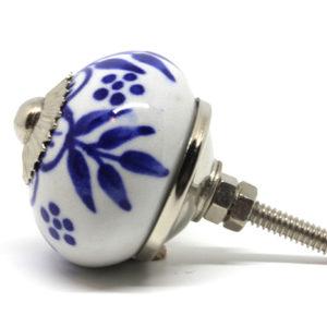 Grand bouton de meuble bleu et blanc fleuri