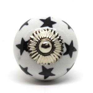 Grand bouton de meuble noir et blanc motif étoile
