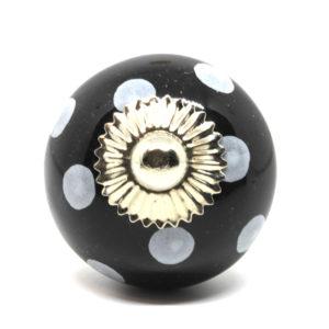 Grand bouton de meuble noir à pois blanc