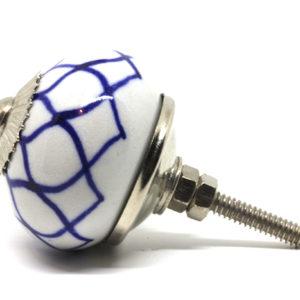 Grand bouton de meuble bleu et blanc