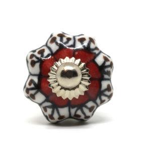 Petit bouton de meuble céramique forme fleur rouge et noir