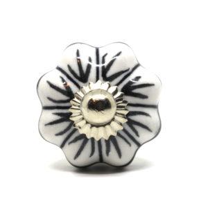 Bouton de meuble – bouton de porte – poignée de meuble forme citrouille / fleur noir et blanc