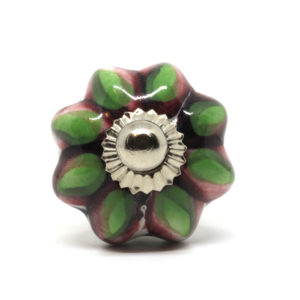 Petit bouton de meuble en céramique fleur vert et rose