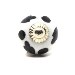 Petit bouton de meuble noir et blanc à motifs