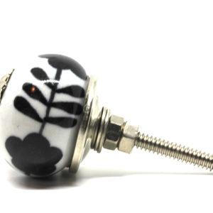 Petit bouton de meuble noir et blanc