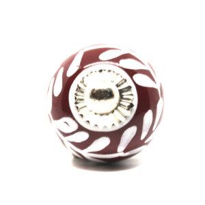 Petit bouton de meuble bordeaux et blanc