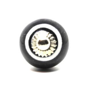 Bouton de meuble noir rayé blanc