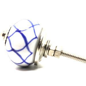 Petit bouton de meuble bleu et blanc mandala