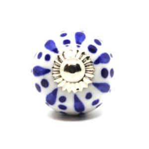 Petit bouton de meuble bleu et blanc