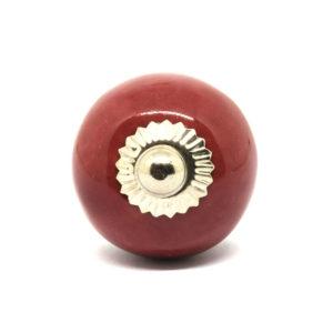 Petit bouton de meuble en céramique bordeaux