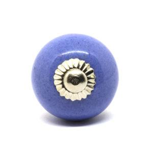 Petit bouton de porte en céramique bleu uni