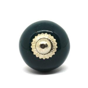 Petit bouton de meuble en céramique uni vert foncé