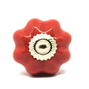 Petit bouton de meuble en céramique citrouille unie