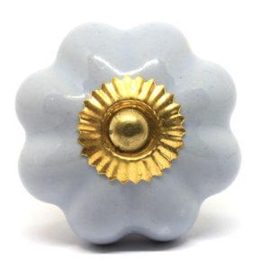 Bouton de meuble citrouille bleu uni