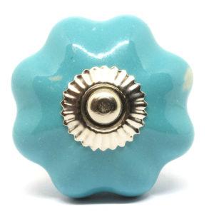 Bouton de meuble citrouille bleu turquoise