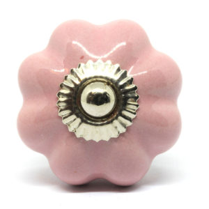 Bouton de meuble citrouille rose uni