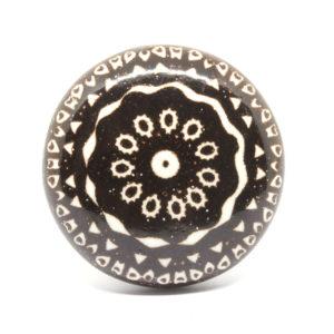 Bouton de meuble plat noir et blanc