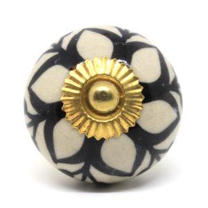 Bouton de meuble fleuri noir et crème