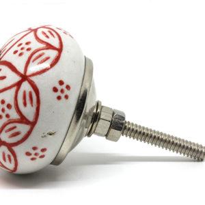 Bouton de porte céramique fleur rouge