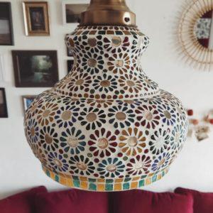 Lustre mosaïque fleuri en forme de cloche