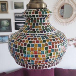 Lustre mosaïque multicolor en forme de cloche
