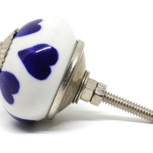 Bouton de meuble coeur bleu