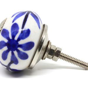 Bouton de meuble bleu fleuri