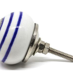 Bouton de meuble blanc à rayures bleues