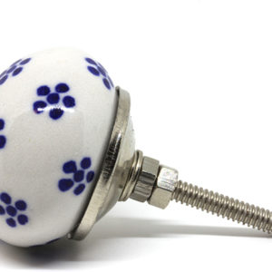 Bouton de meuble blanc et bleu fleuri