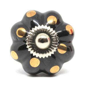 Bouton de meuble en céramique fleur pois dorés
