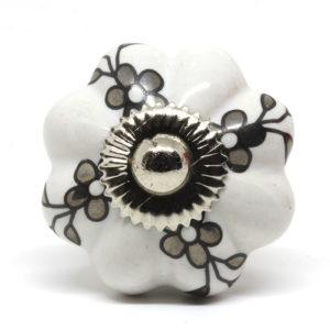 Bouton de meuble en céramique fleuri